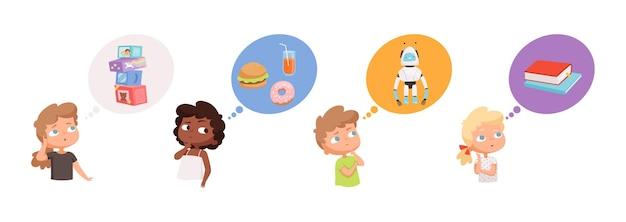Niños soñando. niños niñas pensando en regalos, robots juguetes libros de comida. niños pensativos