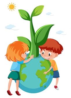 Niños sosteniendo eco tierra