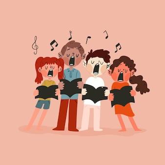 Niños sosteniendo libros y cantando en coro.