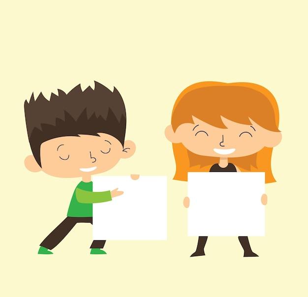 Niños sosteniendo pancartas. vector niño y niña con banner vacío, niño de escuela de dibujos animados de ilustración y tablero para texto en diseño plano