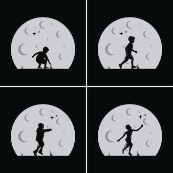 Los niños sueñan con alcanzar una estrella con fondo de luna.