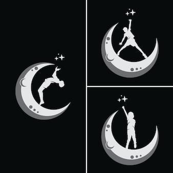 Los niños sueñan con alcanzar una estrella con luna.