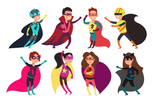 Niños superhéroes felices vistiendo coloridos trajes de superhéroes. personajes infantiles de dibujos animados