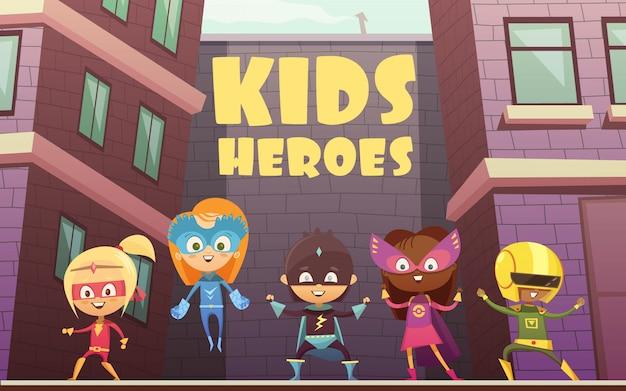 Los niños superhéroes vector ilustración con el equipo de personajes de dibujos animados cómicos vestidos