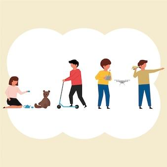 Los niños y sus actividades pack de personajes en diseño plano
