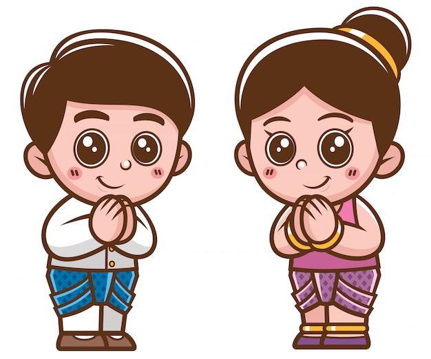 Niños tailandeses de dibujos animados