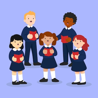 Niños talentosos ilustrados cantando en un coro.