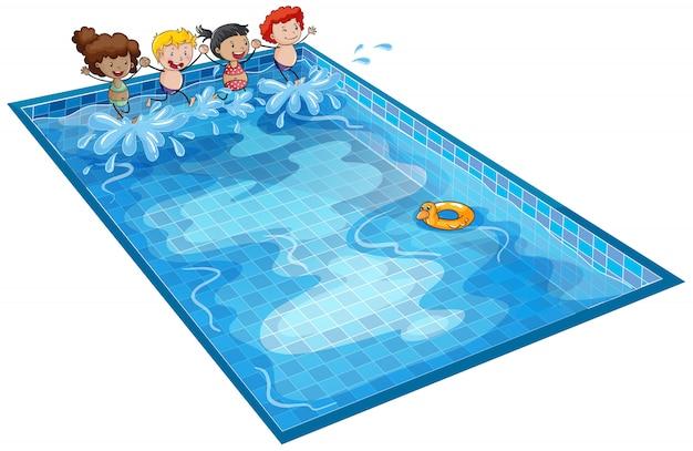 Niños en tanque de natación