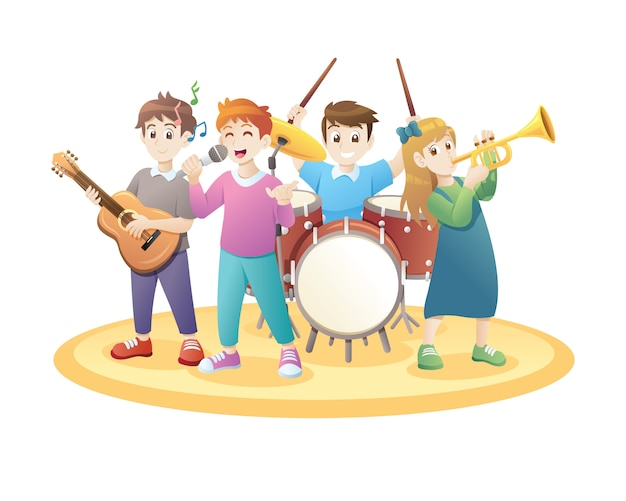 Niños tocando musica