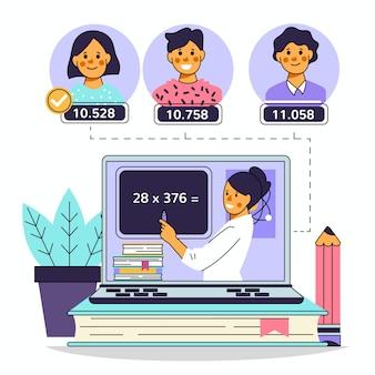 Niños tomando clases en línea