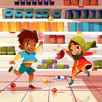 Niños traviesos jugando con comida en caricatura de supermercado