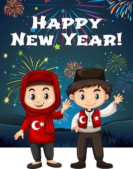 Niños turcos en tarjeta de año nuevo