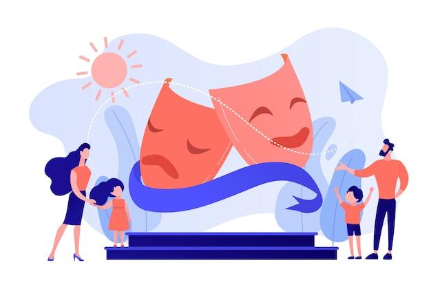 Los niños con tutores disfrutan actuando en el escenario del teatro al aire libre, gente pequeña. campamento de teatro, programa de actuación de verano, concepto de cursos de jóvenes actores. ilustración aislada de bluevector coral rosado