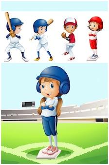 Niños en uniforme de béisbol en el campo de ilustración