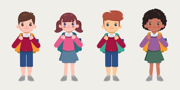Niños con uniforme y mochila.