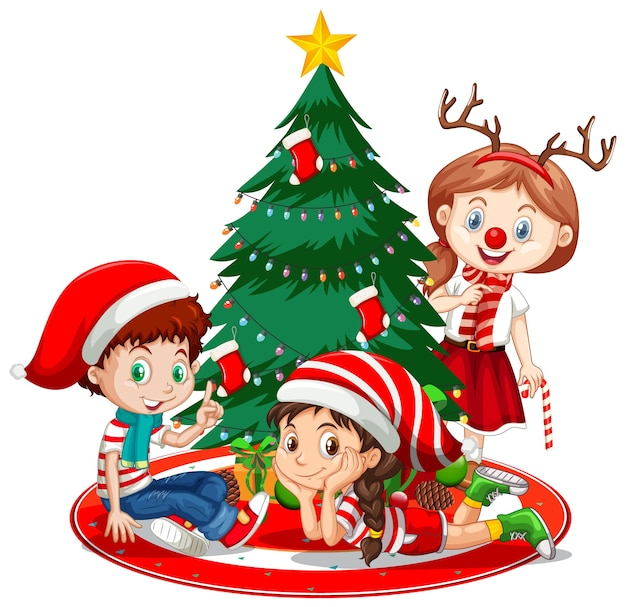 Los niños usan personaje de dibujos animados de disfraces de navidad con árbol de navidad