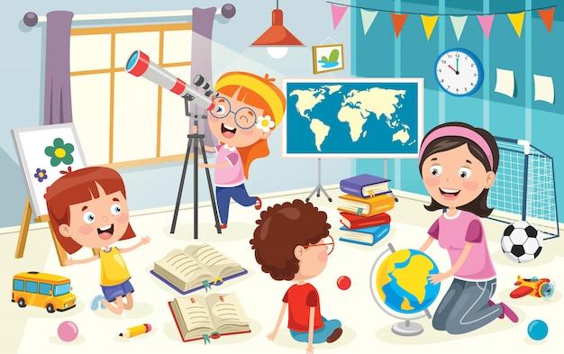 Niños usando telescopio para investigación astronómica