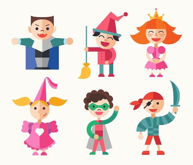 Niños en vacaciones, fiesta, disfraces de carnaval.