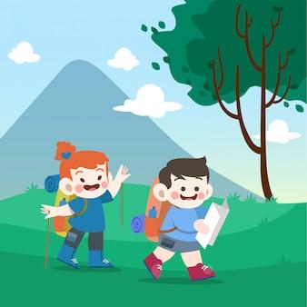 Los niños van a la ilustración vectorial de montaña