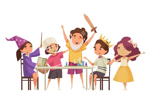 Niños con varita mágica de corona de espada jugando dibujos animados de juego de mesa de cuento de hadas