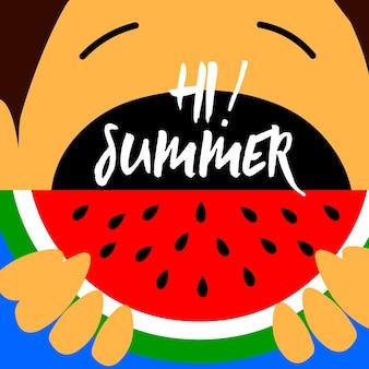 Los niños de verano comen diseño de fondo de sandía