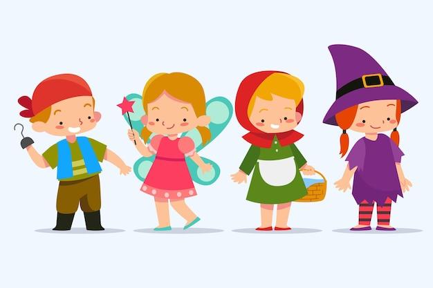 Niños vestidos con disfraces de carnaval de héroes del libro.