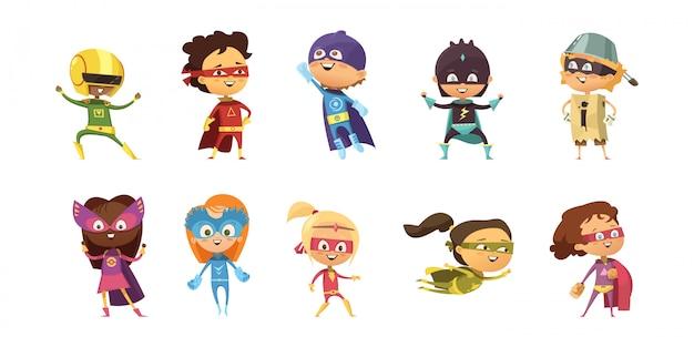 Niños vestidos con trajes coloridos de diferentes superhéroes retro conjunto aislado