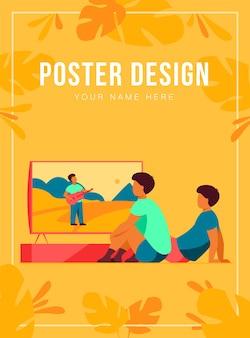 Niños viendo películas o programas en casa plantilla de póster