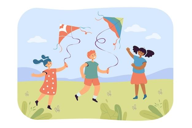 Niños volando cometa ilustración plana