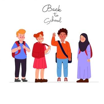 Niños de vuelta a la escuela de dibujos animados