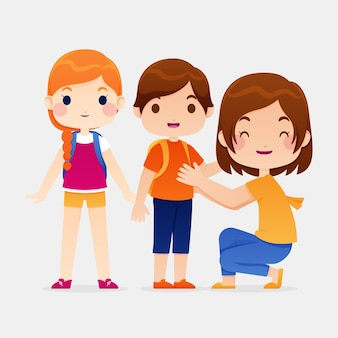 Los niños vuelven a la escuela con sus padres.