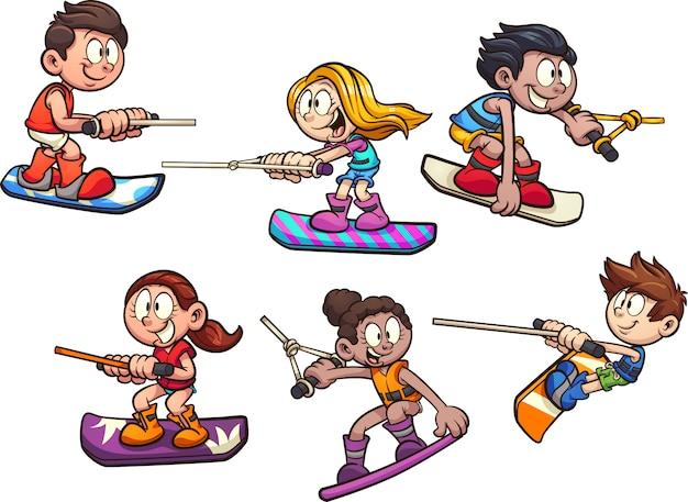 Niños de wakeboard