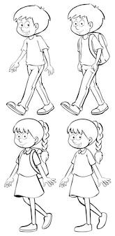 Niños y niñas caminando