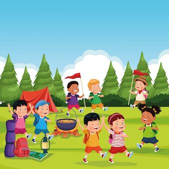 Niños en zona de acampada.