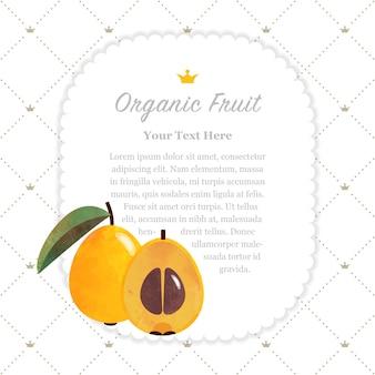 Níspero de níspero de marco de nota de frutas orgánicas de textura de acuarela colorida