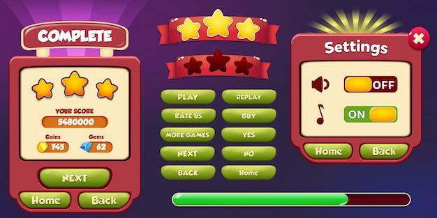 Nivel completo y pantalla emergente del menú de configuración con estrellas y botón