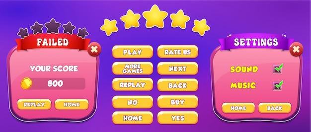 Nivel fallido y pantalla emergente del menú de configuración con estrellas y botón