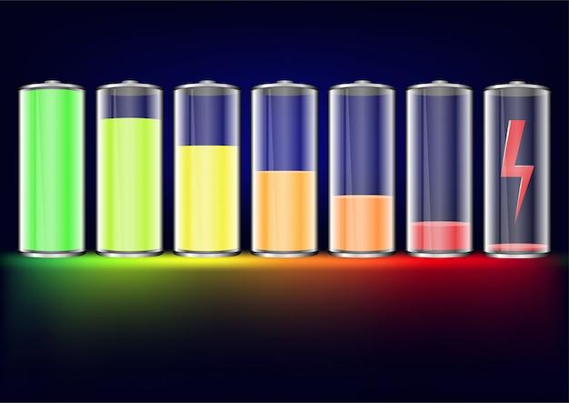 Niveles de batería establecidos. batería completamente cargada y descargada con brillo colorido.