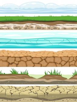 Niveles sin costura de tierra. desierto aterrizado tierra suelo hielo hierba textura agua piedra superficies. vector de juego ui