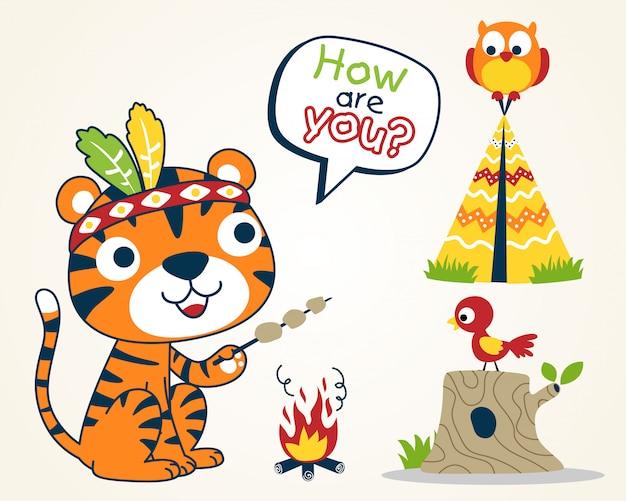 Niza animales tribu dibujos animados indios
