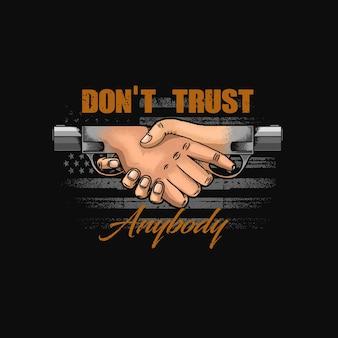 No confíes en nadie símbolo de ilustración