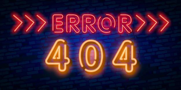 No se encontró el signo de neón de la página de error 404