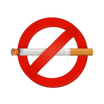 No fumar cigarrillo realista signo