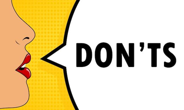 No hacer. boca femenina con lápiz labial rojo gritando. bocadillo de diálogo con texto don ts. estilo comic retro. puede utilizarse para negocios, marketing y publicidad. eps vectoriales 10.