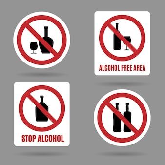No hay carteles de áreas libres de alcohol y alcohol.