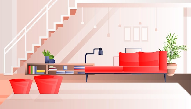 No hay gente vacía sala de estar interior moderno apartamento diseño ilustración horizontal