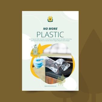 No más plantilla de póster ambiental de plástico