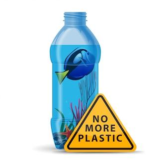 No más plástico, cartel triangular amarillo con una botella en la que nada el pez