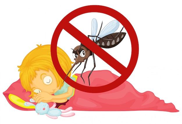 No mosquito mientras niña durmiendo