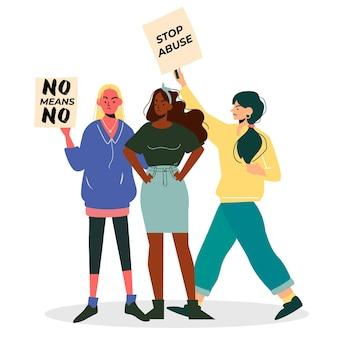 No significa no con mujeres y pancartas